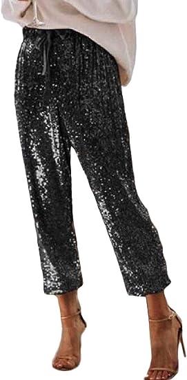 Fly Year-JP 女性スパークリースパンコールドローストリングスキニーレギンパンツ鉛筆ロングパンツ