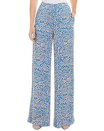 Diane von Furstenberg Womens Printed Wide Leg Pant, 2, Blue