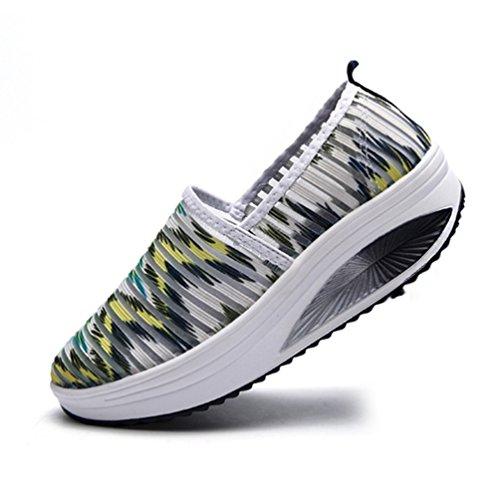 JRenok Zapatillas de Running de Lona Mujer Verde