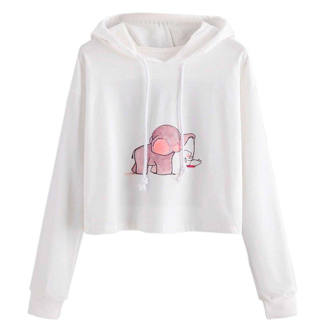 Kinrui Women Cartoon Print Long Sleeve Sweatshirt Hooded Pullover Blouse Tops Shirt (M)