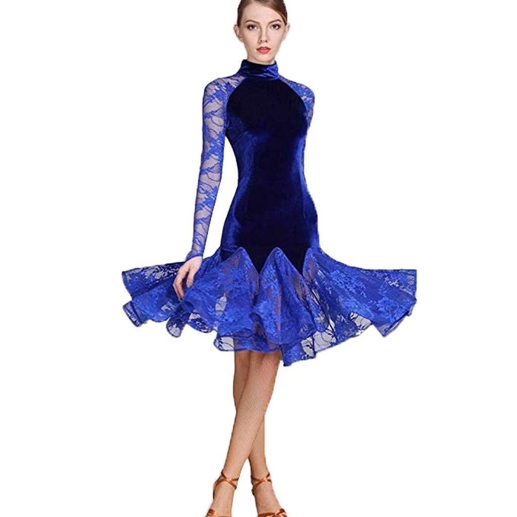 【ファッション通販】 女性のためのラテンの標準的なダンスのダンスのダンスの服 ブルー、レースのスプライス長袖ハイネック競争ダンス衣装 B07QDXV29K B07QDXV29K L l|ブルー ブルー L L l, ヨコテシ:5f0ccc7e --- a0267596.xsph.ru