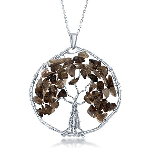 Sterling Silver Natural Smoky Quartz Gemstone Beads Tree of Life 30