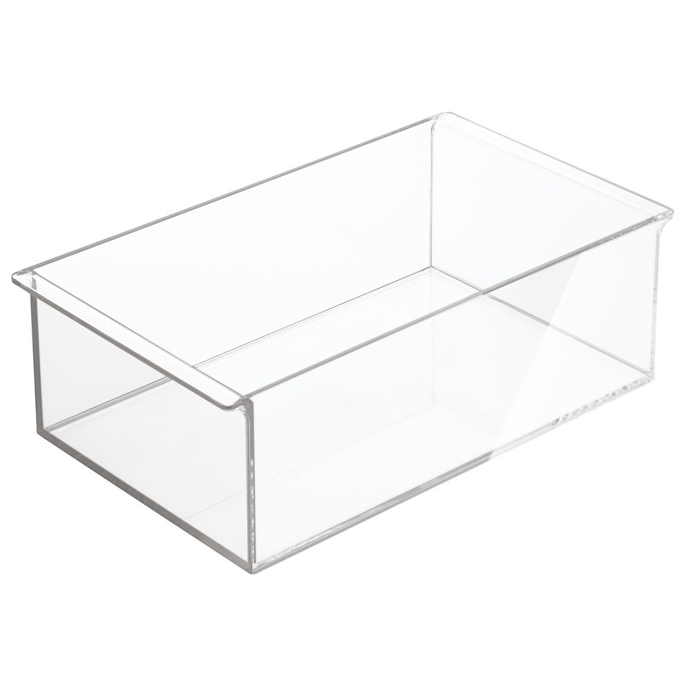InterDesign Clarity Cosmetic Organizer Tray for Vanity Cabinet to Hold Makeup, Beauty Products - Short, Clear 38540