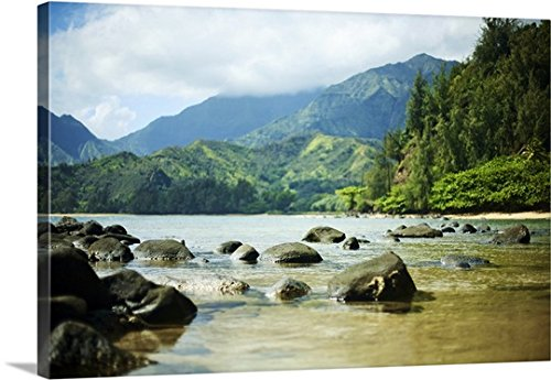 Kicka Witte Premium Thick-Wrap Canvas Wall Art Print entitled Hawaii, Kauai, Waikoko, Ocean Shoreline And Mountains In Distance 48''x32'' by Canvas on Demand