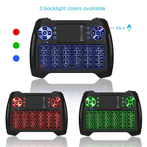 Mini Wireless Keyboard With Touchpad, Vive Comb 2.4G Rechargeable Backlit Handheld Remote Control Keyboard and Mouse Combo with Multimedia Keys for Android TV Box, PC, PAD, Smart TV, X-BOX, HTPC by vive comb (Image #4)