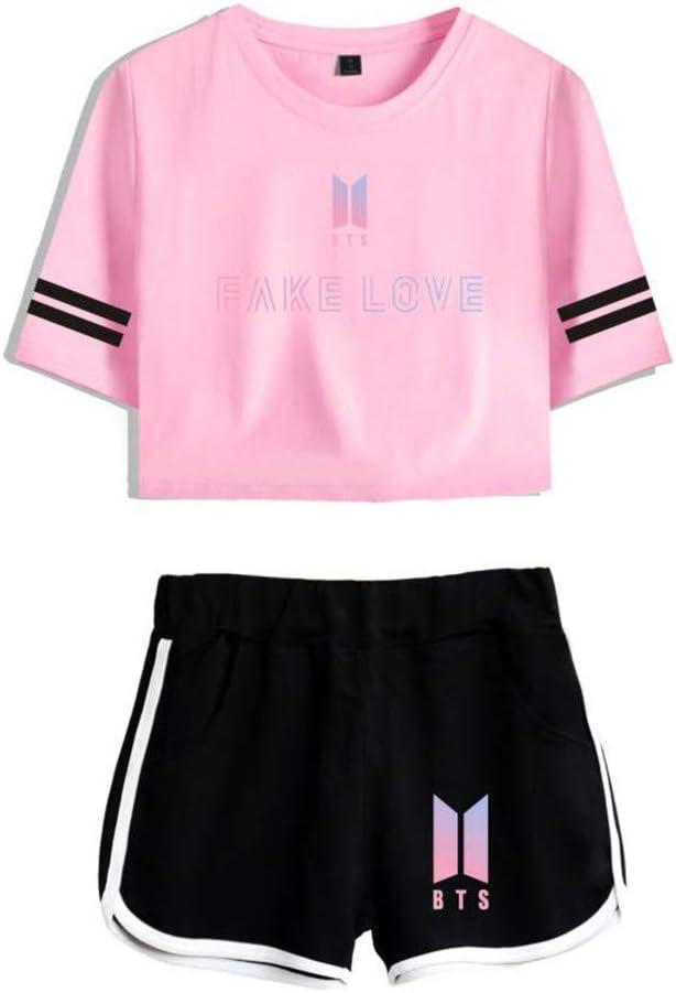 Memoryee Moda 3D Digitale KPOP BTS Stampare Crop Top T-Shirt e Pantaloncini Abbigliamento Due Pezzi Suit per Ragazze e Donne Sportswear