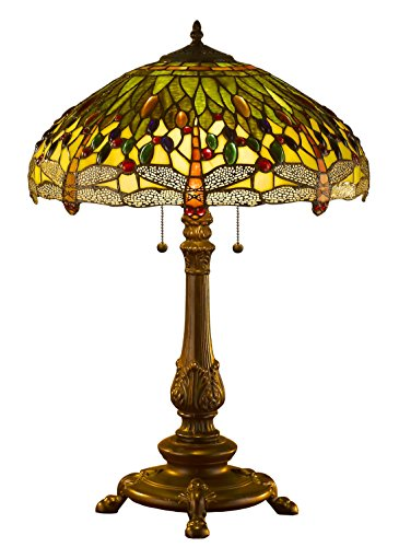 Amora Lighting Amora Lighting AM1031TL18 Tiffany Style Dragonfly Table Lamp Wide 18 In