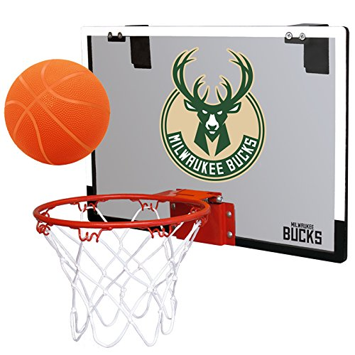 fan products of NBA Milwaukee Bucks Game On Indoor Basketball Hoop & Ball Set, Regular, Green