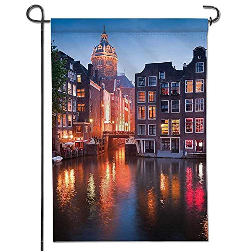 Cross Collection Renaissance (Mikihome Garden Flag Collection Night Time Illuminations of The Neo Renaissance St Nicholas Church in Amsterdam House Flag Decoration Double Sided Flag)