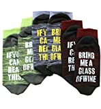Christmas Unisex Striped If You Can Read This Bring Me A Glass of Wine Socks, 3 Packs, One Size