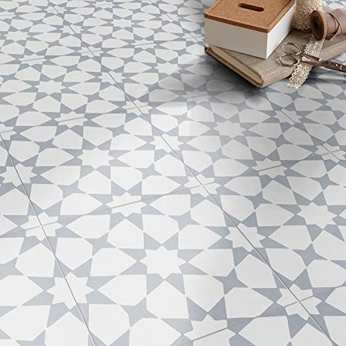 Moroccan Mosaic & Tile House CTP18-04 Medina Handmade Cement Tile in White and Grey 141[並行輸入]