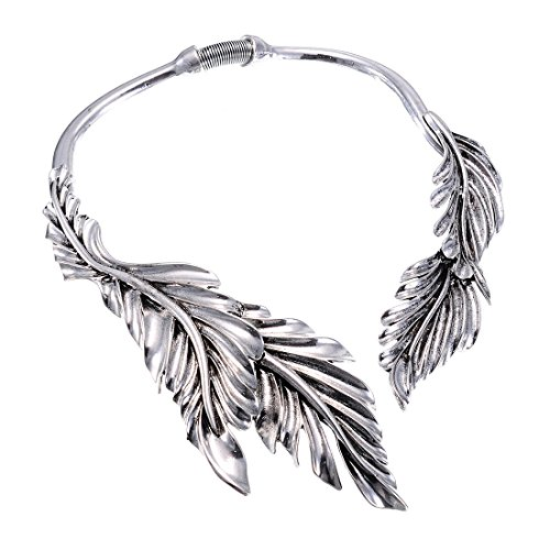 Jerollin Gold/Silver Leaf Choker Collar Statement Necklace for Women, Stainless Steel Silver Collar Open Choker Bib Necklace