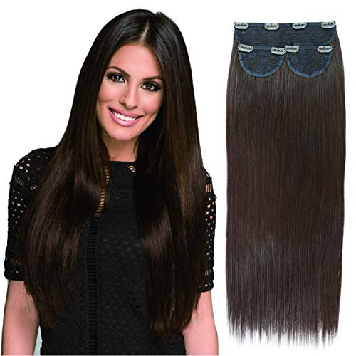 20inch Clip in Hair Extensions Synthetic Hair Extension Clip in Dark Brown Japanese Heat Resistant Fiber 3 PCS Set Hair Pieces 150g