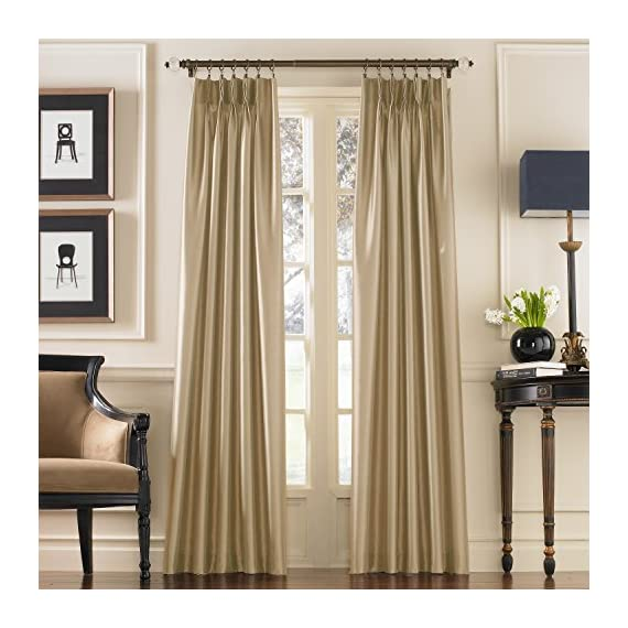 """Curtainworks Marquee Curtain Panel, 30 by 108"""", Sand (Champagne Beige) - Lined faux silk fabric with subtle shimmer and pinch-pleat construction 100% Polyester 4-inch wide back tabs - living-room-soft-furnishings, living-room, draperies-curtains-shades - 51YjbHYw3bL. SS570  -"""