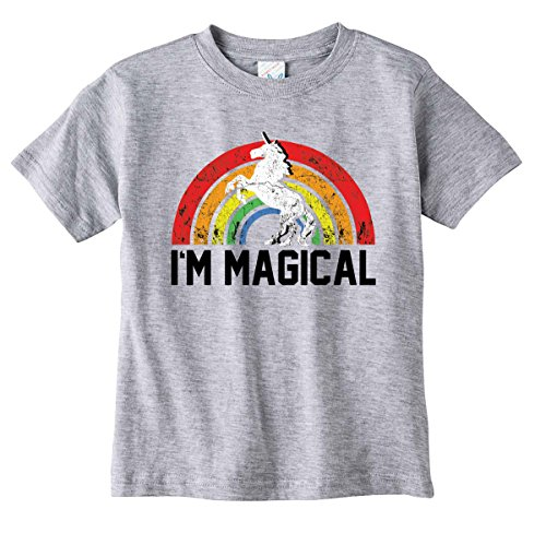 Toddler and Youth I'm Magical Unicorn Kids T-Shirt Pink or Grey (3T, Heather Grey)