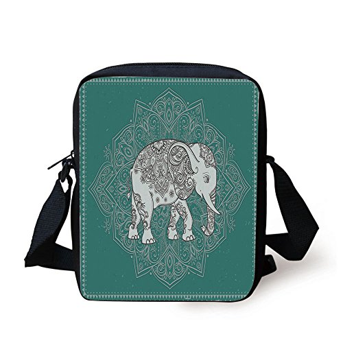 iPrint Elephant Mandala,Symbol Mental Physical Fortitude on Floral Frame,Light Blue Petrol Blue Print Kids Crossbody Messenger Bag Purse
