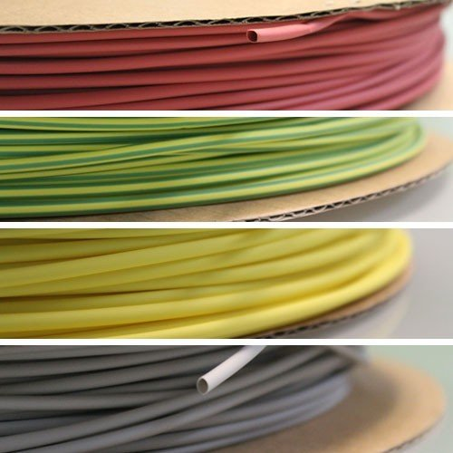WireRun 2:1 Heat Shrink Tubing, Color Yellow/Green, Length 500FT, Pre-Shrink Size 1/8''