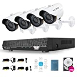 Cheap TECBOX 4 Channel 720P AHD Home Security Camera System DVR Recorder 2TB Hard Drive Preinstalled With 4 HD 1.3MP Waterproof Night Vision Indoor Outdoor CCTV Surveillance Camera