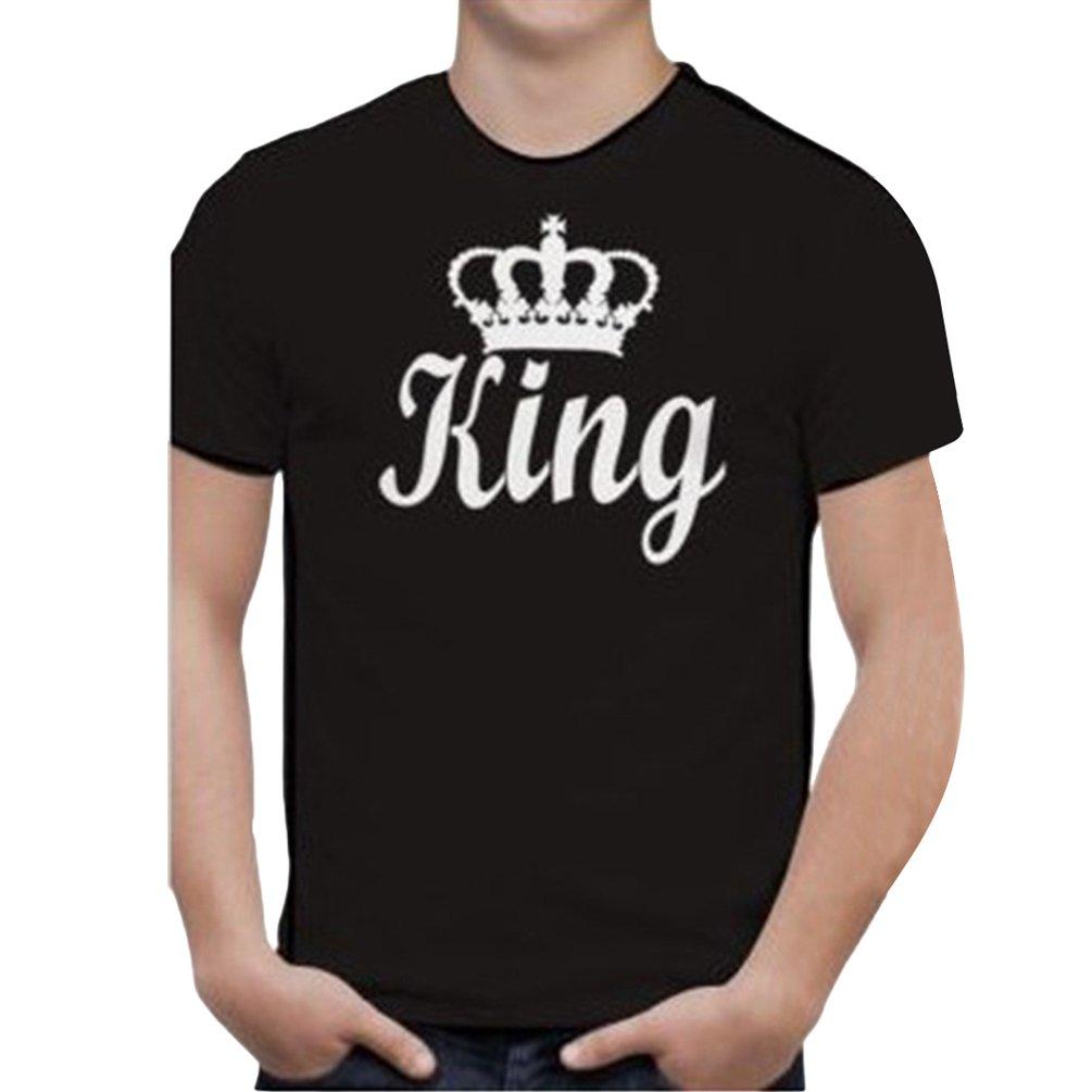 Cayuan King Queen Corona T-Shirt da Coppie Manica Corta Girocollo Maglietta Maglie Camicetta Camicia Tops per Uomo e Donna
