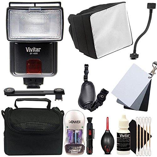 Price comparison product image Vivitar SF-4000 Bounce zoom Slave Flash with Accessory Bundle for Canon Digital SLR Cameras