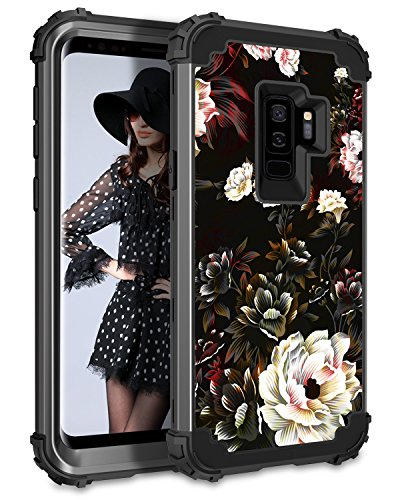 Lontect Compatible Galaxy S9 Plus Case Floral 3 in 1 Heavy Duty Hybrid Sturdy Armor High Impact Shockproof Protective Cover Case Samsung Galaxy S9 Plus - Flower/Black