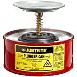 "Justrite 10108 1 Quart, 7.25"" O.D, 5 7/8"" H, Premium Coated Steel Plunger Can With With Brass And Ryton Pump Assembly"