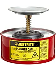 """Justrite 10108 1 Quart, 7.25"""" O.D, 5 7/8"""" H, Premium Coated Steel Plunger Can with with Brass and Ryton Pump Assembly"""