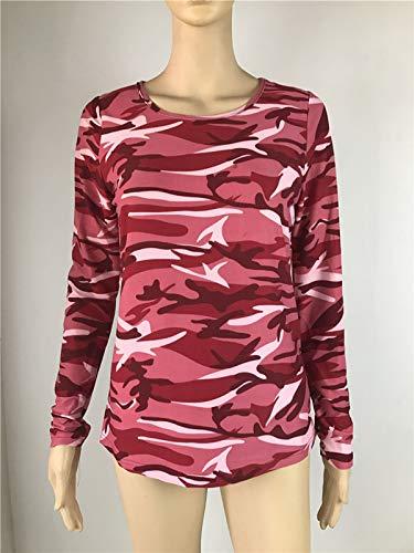 Jumper Blouse Tops Shirts Vino Maglie Donne Casual Maglioni T Lunga Autunno Manica Rosso Blusa a Felpe Maglietta e Collo Primavera Rotondo Moda Mimetico twH1q8Hx0