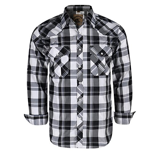 Coevals Club Men's Button Down Plaid Long Sleeve Work Casual Shirt (Black & White #16, M) ()