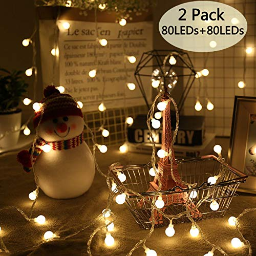 Areskey 2 Pack 80 LEDs 34 Ft Christmas Ball String Lights, 3 Modes Battery Operated, Fairy Globe String Lights, Waterproof Decoration for Indoor Outdoor Party Wedding Christmas Tree Garden, Warm White
