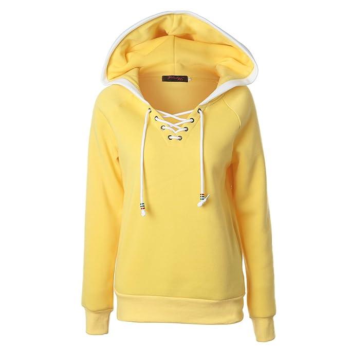 BaronHong Sólido Srawstring Hooded Pullover Sudadera con Capucha Bolsillos Pecho Abrigo (Amarilla, S)