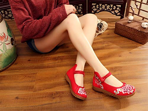Women's Dance Embroidered Style Flats Shoes Chinese Shoes Shoes Shoes Espadrilles and Summer Spring Ballet Gules Embroidered w7xnOn