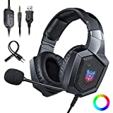 Gaming Headset with Mic and USB RGB LED Light,Lightweight Stereo Sound Over Ear Headphones,Soft Memory Earmuffs & Noise Cancelling & Volume Control (Black)