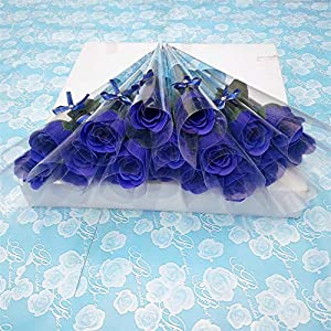 Baost Creative 10 Pcs Single Stem Artificial Rose Soap Made Flower Bouquet Bath Soap Rose Flower Petal Wedding Party Gift for Valentine's Day Thanksgiving Day Party Decoration 72