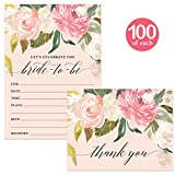 Bride-to-Be Shower Invites ( 100 ) & Thank You Cards ( 100 ) Matched Set with Envelopes Many Guests Large Bridal Celebration Wedding Party Fill-in Invitations & Folded Thank You Notes Best Value Pair