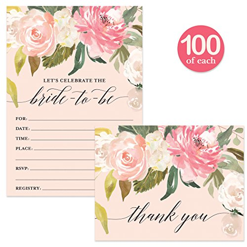 Bride-to-Be Shower Invites ( 100 ) & Thank You Cards ( 100 ) Matched Set with Envelopes Many Guests Large Bridal Celebration Wedding Party Fill-in Invitations & Folded Thank You Notes Best Value Pair by Digibuddha