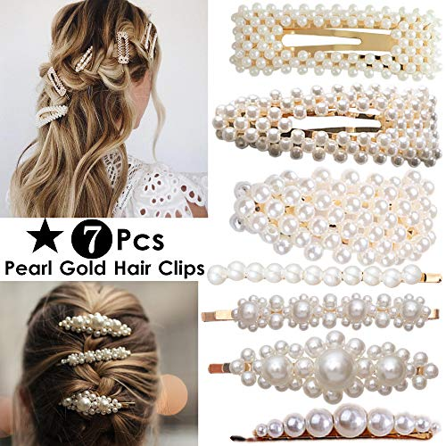 ANGELANGELA 7PCS Gold Oversized Pearl Hair Clips for Women Girls Mom Kids, Mother day gift, Beaded Hairpin, Hair Styling Tools Accessories Barrettes Geometric Ponytail Holder