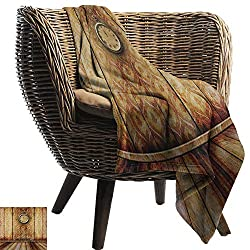warmfamily Decorative Throw Blanket Victorian Antique Clock on Medieval Style Wall Wooden Floor Classic Architecture Theme Art Bedroom Warm 50 Wx60 L