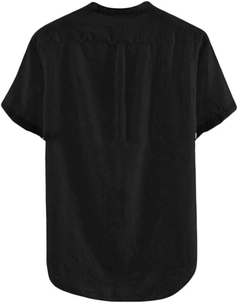 Sebaby Mens Contrast Short Sleeve Stand Up Collar Loose Fit Western Shirt
