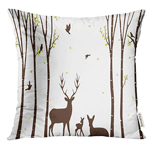 (VANMI Throw Pillow Cover Aspen Birch Tree with Deer and Birds Silhouette Autumn Bark Decorative Pillow Case Home Decor Square 18x18 Inches Pillowcase)