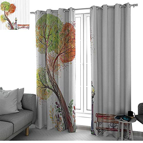 Malibu Light Frog - bybyhome Farm House Decor Window Curtains for Living Room Autumn Day in The Park with Fall Leaves and Trees Hand Drawn Style Vintage Picture Window Green Brown W84 x L108 Inch