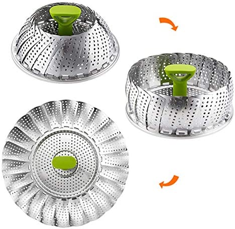 """51YjeUlKUaL. AC BESORICH Vegetable Steamer Basket, Stainless Steel Folding Steamer with Extending Removable Center Handle Insert for Veggie Seafood Cooking to Fit Various Size Pot (5.1"""" to 9""""),    Steamer baskets is a healthy cooking choice because it helps retain more than 90% of the nutrients lost when either boiling or microwaving food. You don't have to be an accomplished cook to create quick, healthy and nutrient-dense cuisine that tastes great.  With this versatile kitchen tool, cooking is fast, easy and less messy."""