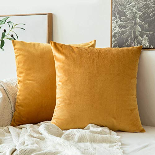 MIULEE Pack of 2 Velvet Soft Soild Decorative Square Throw Pillow Covers Set Cushion Case for Sofa Bedroom Car 16 x 16 Inch 40 x 40 cm Gold (Gold Pillows Yellow)