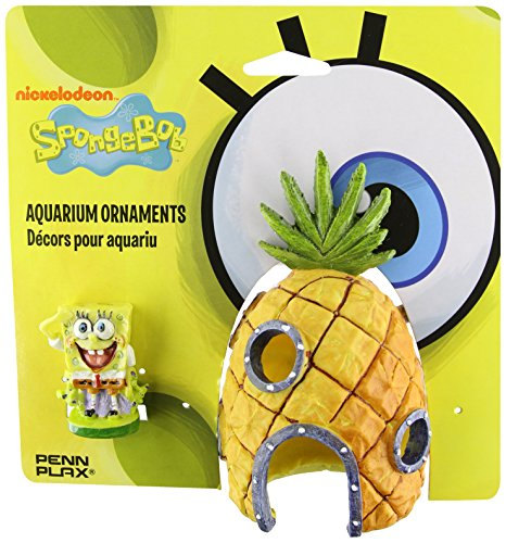 Penn Plax SpongeBob and Pineapple House Aquarium Ornament, 2-Pack