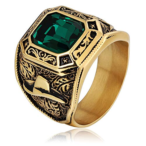ANAZOZ Stainless Steel Ox Head Pattern Square Gemstone Gold Green Punk Chic Men's Rings Size ()