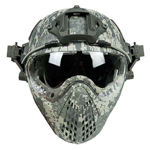 - TKTTBD Airsoft Helmet, Fast Helmet, Tactical Helmet,Updated Version Fast Tactical Helmet Combined with Foldable Half Face Mesh Mask and Goggles for CS Game Set(56-66CM)