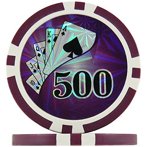 Ying Yang Numbered Poker Chips - Purple 500's (Roll of 25), 11.5g ABS Composite by Premier Poker Chips (Abs Composite Chip)
