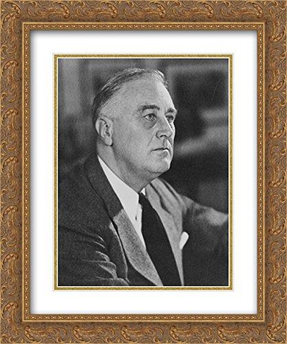 President Franklin D. Roosevelt 20x24 Double Matted Gold Ornate Framed Art - Franklin Galleria