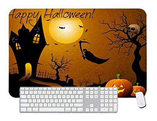 Gaming Mouse Pad Flying Grim Reaper Orange Pumpkins Happy Halloween Card for Desktop and Laptop 1 Pack 1000x600x3mm/39.4x23.6x1.1 in -