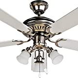 FJ- WORLD L42019 Beautiful white ceiling fan with 42'' blades,3 lights and free remote